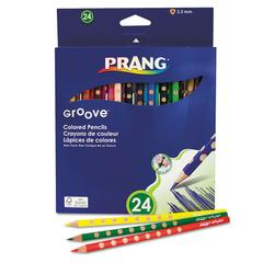Prang Groove Colored Pencils, Assorted, 3.3 mm, 24/Pack