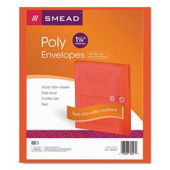 Poly String & Button Booklet Envelope, 9 3/4 x 11 5/8 x 1 1/4, Red, 5/Pack
