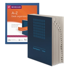 Smead Expandable Indexed Sorter, A-Z, Letter Size, Pressboard, Navy Blue