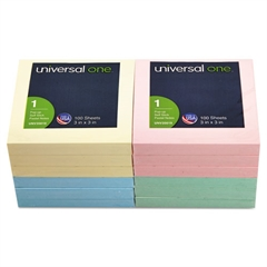 Universal Fan-Folded Pop-Up Notes, 3 x 3, 4 Assorted Pastel Colors, 100-Sheet, 12/Pack