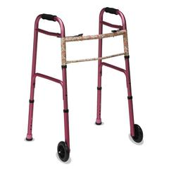 """DMi Two-Button Release Folding Walker with Wheels, Pink/Floral, Aluminum, 32-38""""H"""