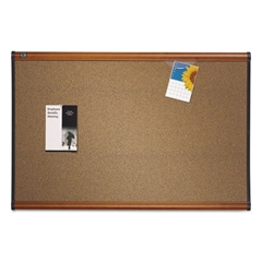 Quartet Prestige Bulletin Board, Brown Graphite-Blend Surface, 48 x 36, Cherry Frame