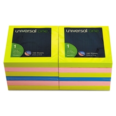 Universal Fan-Folded Pop-Up Notes, 3 x 3, 4 Assorted Neon Colors, 100-Sheet, 12/Pack