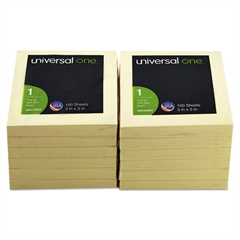Universal Fan-Folded Pop-Up Notes, 3 x 3, Yellow, 100-Sheet, 12/Pack