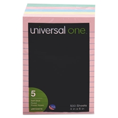 Universal Self-Stick Notes, 4 x 6, Lined, Assorted Pastel Colors, 100-Sheet, 5/Pack