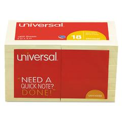 Universal Standard Self-Stick Notes, 3 x 3, Yellow, 100-Sheet, 18/Pack
