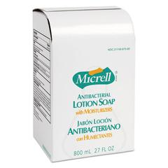 GOJO MICRELL Antibacterial Lotion Soap Refill, Liquid, Light Scent, 800mL, 12/Carton