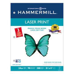 Laser Print Office Paper, 3-Hole Punch, 98 Brightness, 24lb, Ltr, White, 500/Rm