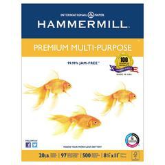 Premium Multipurpose Paper, 20-lb., 8-1/2 x 11, White, 2500/Carton