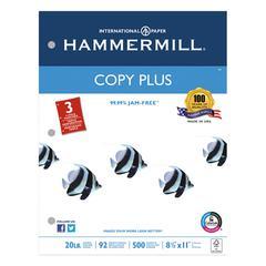 Hammermill Copy Plus Copy Paper, 3-Hole Punch, 92 Brightness, 20lb, Ltr, White, 500 Shts/Rm