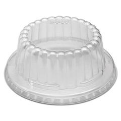 SOLO Cup Company Flat-Top Dome PET Plastic Lids f/6-10 oz Containers, Clear, 1000/Carton
