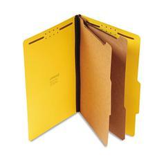 Pressboard Classification Folders, Legal, Six-Section, Yellow, 10/Box