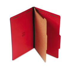 Universal Pressboard Classification Folders, Legal, Four-Section, Ruby Red, 10/Box