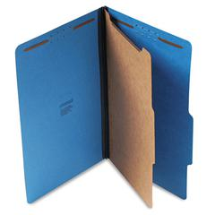 Pressboard Classification Folders, Legal, Four-Section, Cobalt Blue, 10/Box
