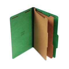 Pressboard Classification Folders, Legal, Six-Section, Emerald Green, 10/Box