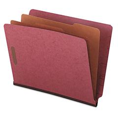 Pressboard End Tab Classification Folders, Letter, Six-Section, Red, 10/Box