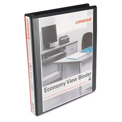 "Universal Economy Round Ring View Binder, 1"" Capacity, Black, 12/Carton"
