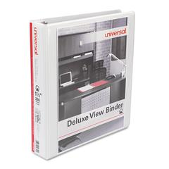 "Universal Deluxe Round Ring View Binder, 1-1/2"" Capacity, White"