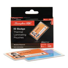 Swingline GBC UltraClear Thermal Laminating Pouches, ID Badge, 5mil, 2 5/8 x 3 7/8, 100/Pack
