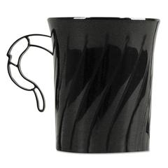 WNA Classicware Plastic Mugs, 8 oz., Black, 8/Pack