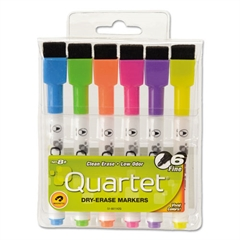 Low-Odor ReWritables Dry Erase Mini-Markers, Ultra Fine, Screamer Colors, 6/Set