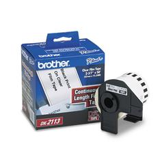 "Brother Continuous Film Label Tape, 2-3/7"" x 50 ft Roll, Clear"