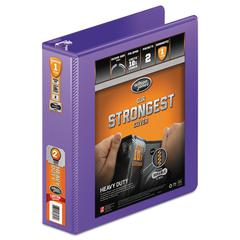 "Heavy-Duty Round Ring View Binder w/Extra-Durable Hinge, 2"" Cap, Purple"