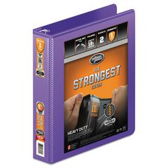 "Heavy-Duty Round Ring View Binder w/Extra-Durable Hinge, 1 1/2"" Cap, Purple"