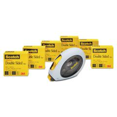 "Scotch Double-Sided Permanent Tape w/Handheld Dispenser Value Pack, 1/2"" x 900"", 6/PK"