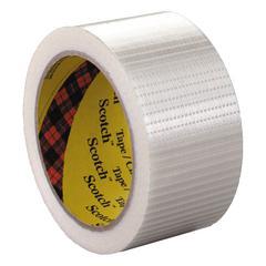 """Bi-Directional Filament Tape, 50mm x 50m, 3"""" Core, Clear"""