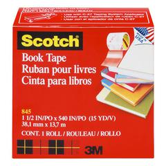 "Scotch Book Repair Tape, 1 1/2"" x 15yds, 3"" Core, Clear"