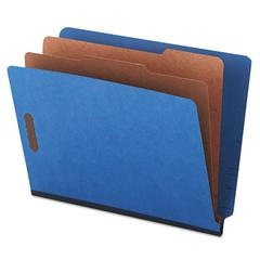 Pressboard End Tab Classification Folders, Letter, Six-Section, Blue, 10/Box