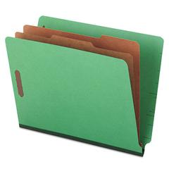 Universal Pressboard End Tab Folders, Letter, Six-Section, Green, 10/Box