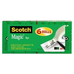 "Magic Tape Refill, 3/4"" x 1000"", 1"" Core, Clear, 6/Pack"