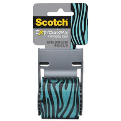 "Expressions Packaging Tape, 1.88"" x 500"", Blue/Black Zebra Pattern"