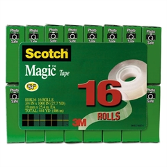 "Magic Tape Value Pack, 3/4"" x 1000"", 1"" Core, Clear, 16/Pack"