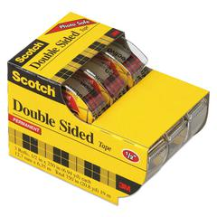 "Scotch 665 Double-Sided Permanent Tape in Hand Dispenser, 1/2"" x 250"", Clear, 3/Pack"