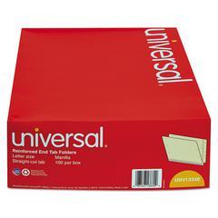 Universal Manila Reinforced Shelf Folder, Letter, 100/Box