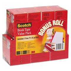 "Scotch Book Repair Tape Multi-Pack, 1 1/2"" x 15yds, 3"" Core, Clear, 8/Pack"