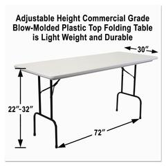 "Alera Blow Molded Resin 36"" Height Folding Table, 72w x 30d x 36h, Gray Granite"