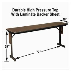 High Pressure Laminate Top Seminar Tables, 72w x 18d x 29h, Walnut