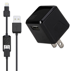 Scosche superCUBE Flip Wall Charger, Black, Micro USB, Lightning Adapter