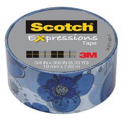 """Scotch Expressions Magic Tape, 3/4"""" x 300"""", Blue Floral"""
