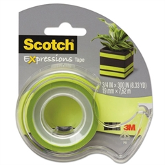"Expressions Magic Tape w/Dispenser, 3/4"" x 300"", Lime Green"