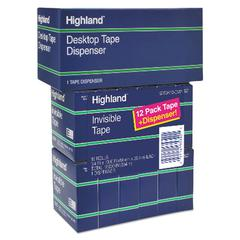 "Invisible Permanent Mending Tape, 3/4"" x 1000"", 1"" Core, Clear, 12/Pack"