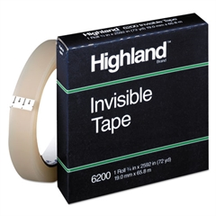 "Invisible Permanent Mending Tape, 3/4"" x 2592"", 3"" Core, Clear"