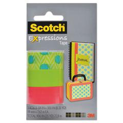 "Scotch Expressions Magic Tape, 3/4"" x 300"", Assorted Zig Zags & Polka Dots, 3/Pack"