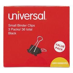 "Universal Small Binder Clips, 3/8"" Capacity, 3/4"" Wide, Black, 36/Box"