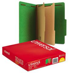 Pressboard Classification Folders, Letter, Six-Section, Emerald Green, 10/Box