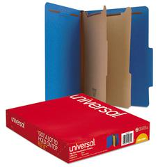 Pressboard Classification Folders, Letter, Six-Section, Cobalt Blue, 10/Box